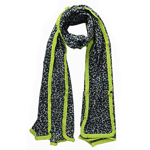 Grey Leopard Print Scarf with Neon Yellow Fringe