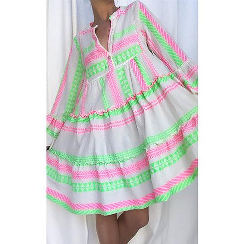 Neon Aztec Smock Dress - Pink