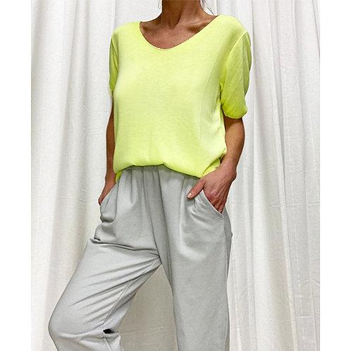 Fine Knit T-Shirt - Neon Yellow