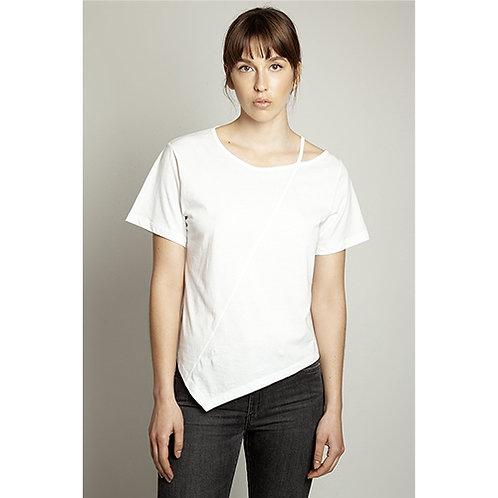 Asymmetric Cut-out White T-shirt