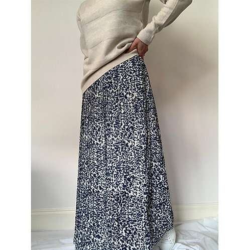 Pleated Leopard Skirt - Navy/Cream