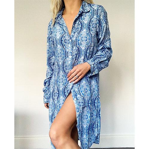 Silk Mix Shirt Dress - Blue