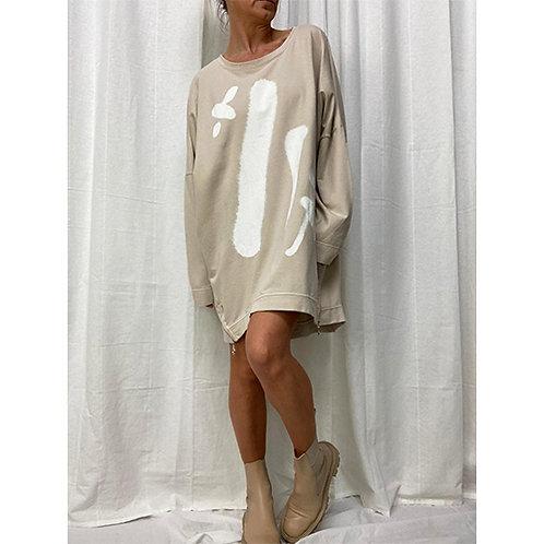 Graffiti Sweatshirt Dress - Stone