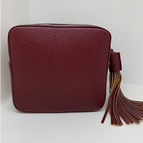 Cross Body Box Bag with Tassel -Plum