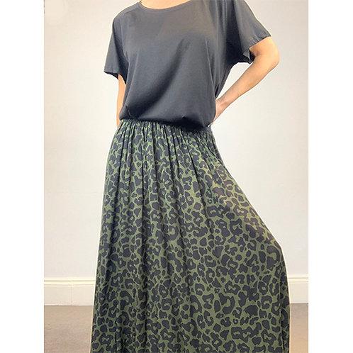 Maxi Leopard Print Skirt -Khaki/Black