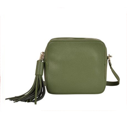 Cross Body Box Bag with Tassel - Olive Green