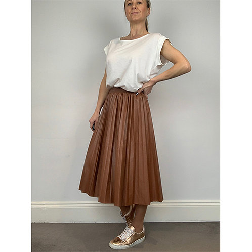 Pleated Faux Leather Skirt - Tan