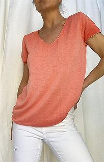 Fine Knit T-Shirt - Coral