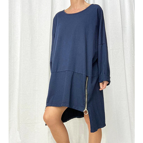 Relaxed Zipped Short Dress - Navy