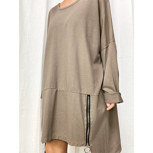 Relaxed Zipped Short Dress - Stone