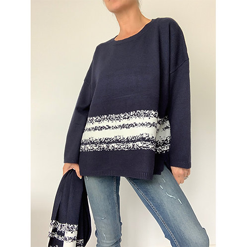 Jumper with Scarf - Navy