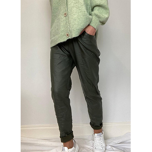 Coated Trousers - Khaki