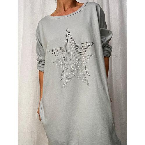Dimante Star Tunic - Silver grey