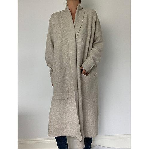 Long Knitted Coat - Beige