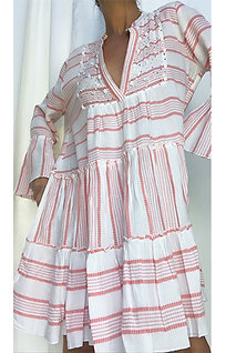Striped Smock Dress - Coral