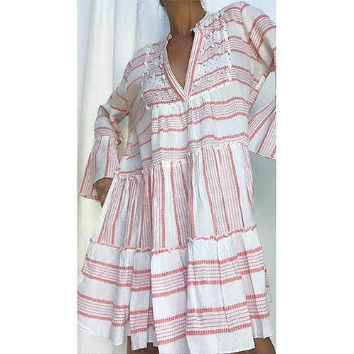 Striped Smock Dress - Coral