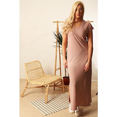 Long T-Shirt Dress - Dusty Pink
