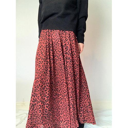 Maxi Leopard Print Skirt - Burgundy /Black