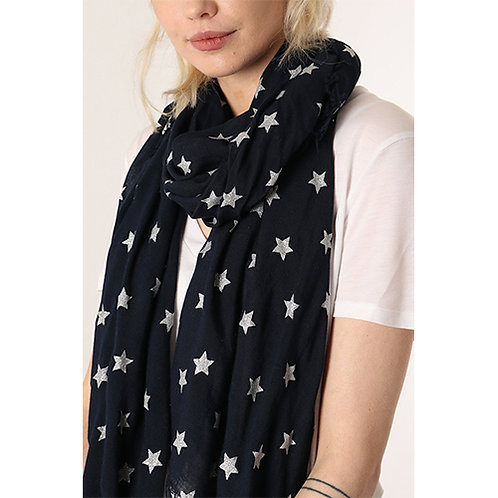 Navy Scarf with Silver Stars