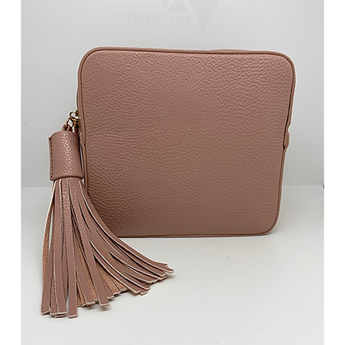 Cross Body Box Bag with Tassel - Pale Pink