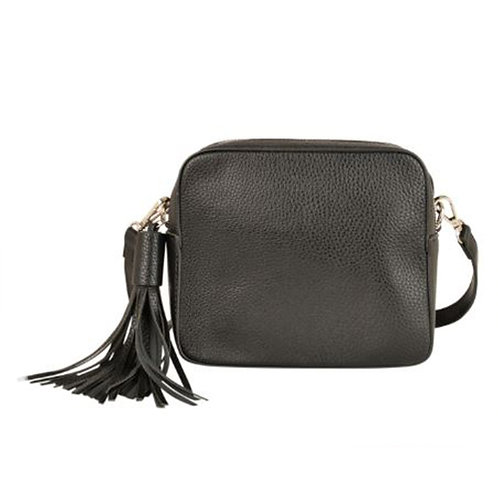 Cross Body Box Bag with Tassel - Black