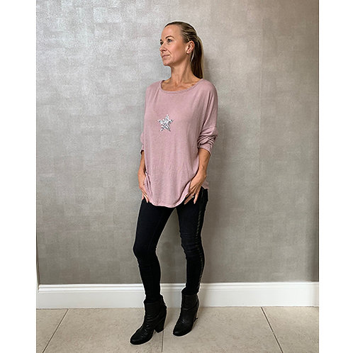 Soft Pink Top with Sequin Star Detail