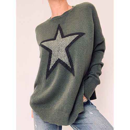 Star Jumper - Khaki Green