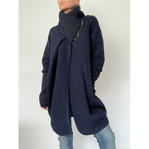 Cocoon Coat - Navy