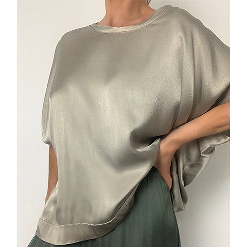 Taupe Silky Textured Top