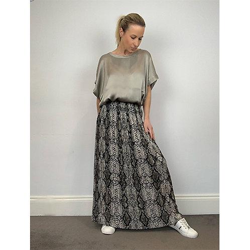 Pleated Snake Print Skirt