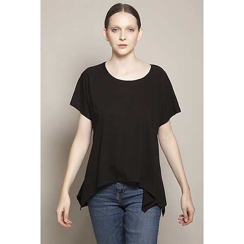 Round Neck Asymmetric Black T-shirt