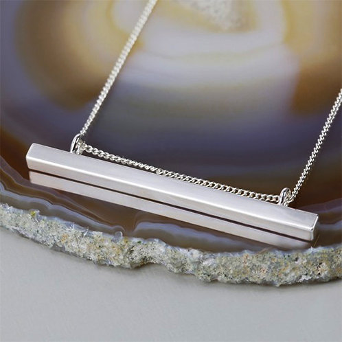 Horizontal Bar Necklace in Silver