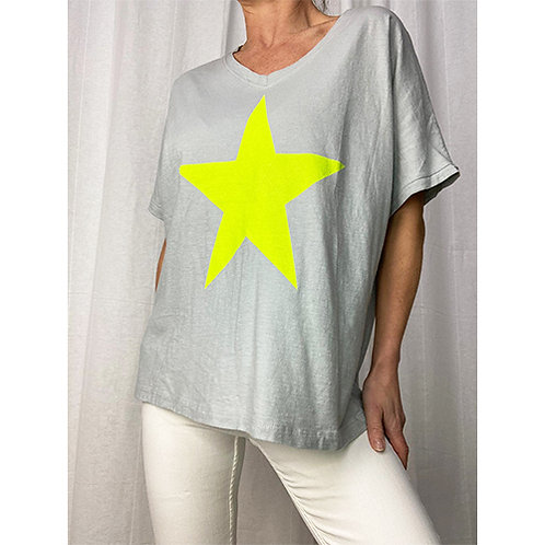 Neon Star T-Shirt - Grey