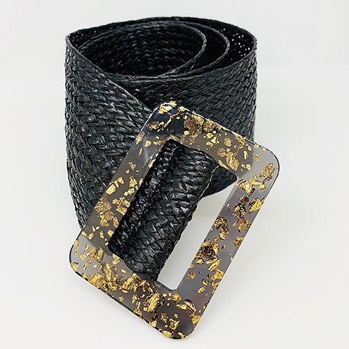 Wide Woven Belt - Black
