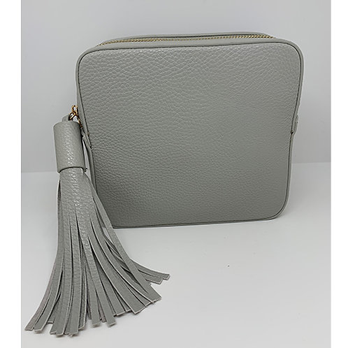 Cross Body Box Bag with Tassel - Pale Grey