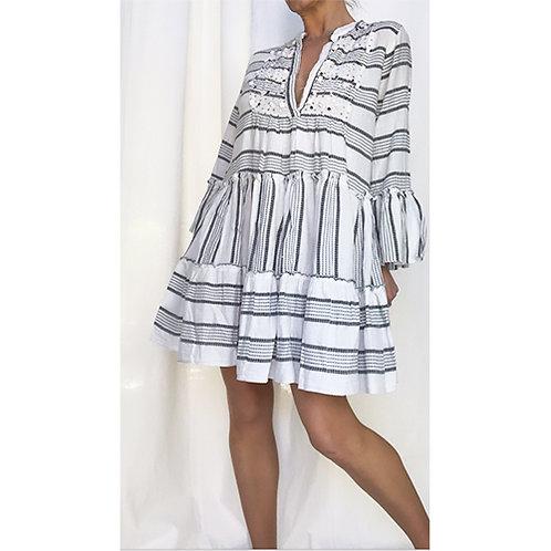 Striped Smock Dress - Black