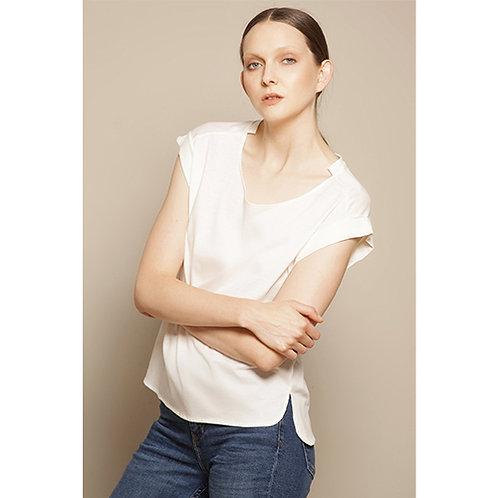 Fold Sleeve Off White T-shirt
