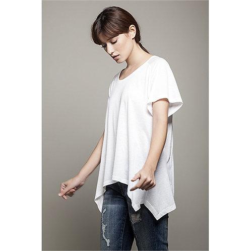 Round Neck Asymmetric Off White T-shirt