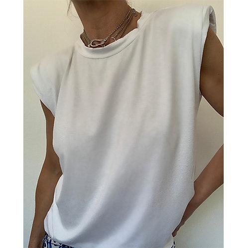 White Padded Shoulder T-Shirt