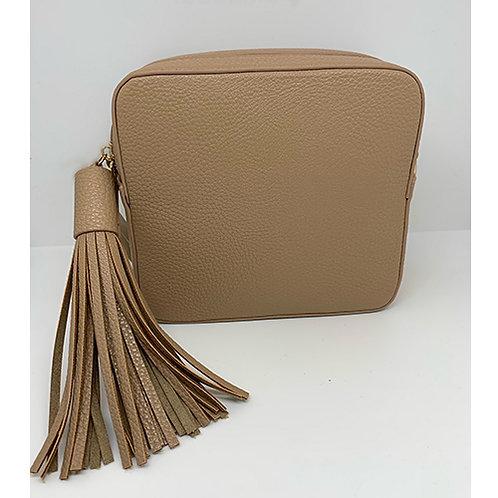 Cross Body Box Bag with Tassel - Nude