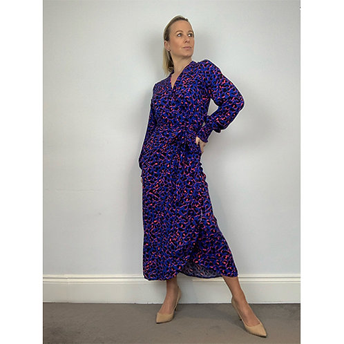 Midi Wrap Dress - Blue/Pink