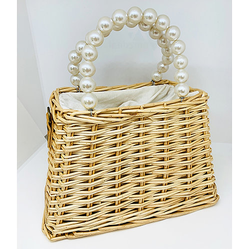 Woven Bag with Pearl Handle