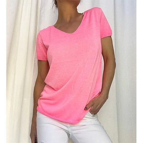 Fine Knit T-Shirt - Neon Pink
