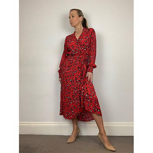 Midi Wrap Dress - Red/Black