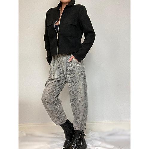Snake Print Trouser - Grey