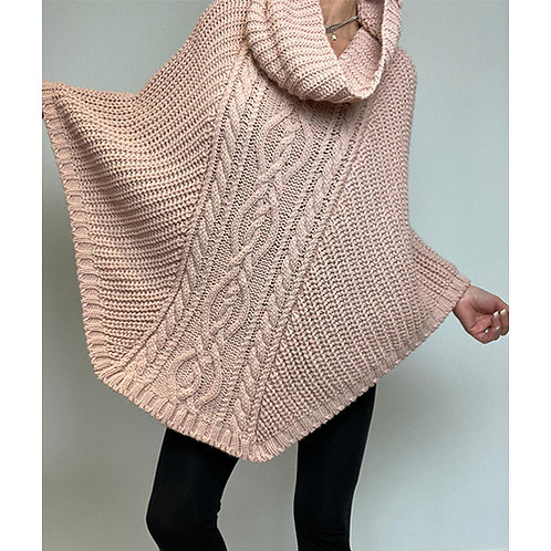Cowl Neck Poncho Cape in Dusty Pink
