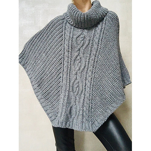 Cowl Neck Poncho in Charcoal Grey