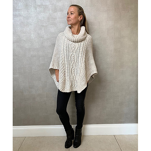 Ladies Cable Knitted Cowl Neck Poncho Cape in Stone