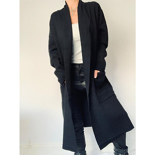Long Knitted Coat - Black