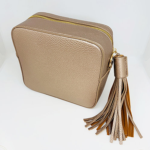 Cross Body Box Bag with Tassel - Rose Gold